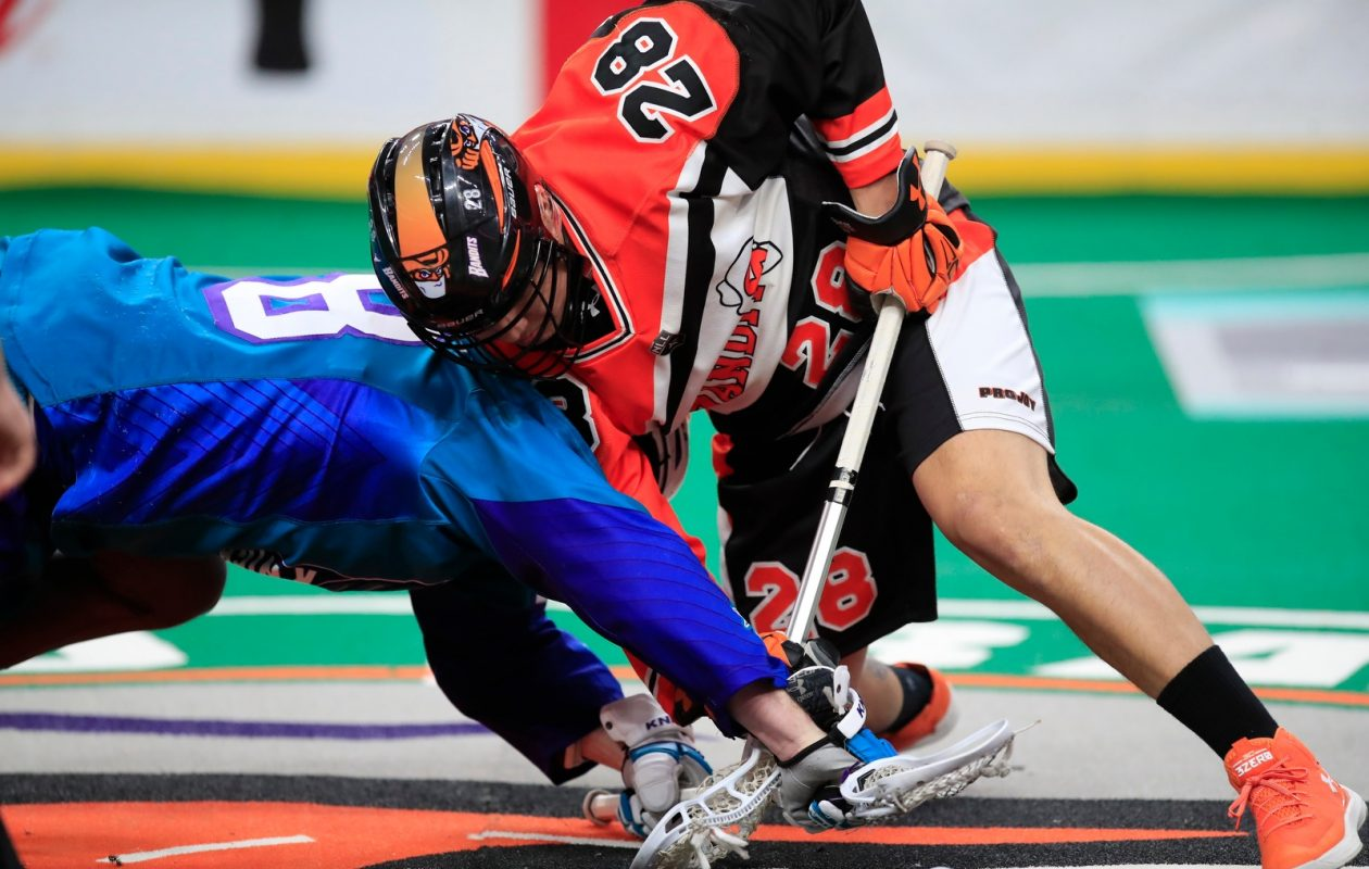 Buffalo Bandits Vaughn Harris fights for a loose ball on a faceoff against the Rochester Knighthawks during first half action at the KeyBank Center on Saturday, Feb. 24, 2018. (Harry Scull Jr./Buffalo News)