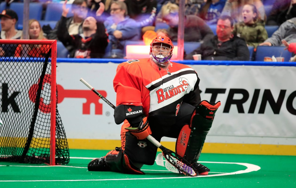 Buffalo Bandits goalie Alex Buque made 38 saves in the Bandits' 16-10 loss to the Saskatchewan Rush on Friday. (Harry Scull Jr./Buffalo News)