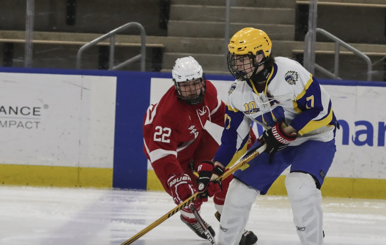 West Seneca West's Jacob Fort steals the puck away from  Canandaigua's Jake Spinosa in the first period of the Division II Hockey Regionals at HarborCenter.  (James P. McCoy / Buffalo News)