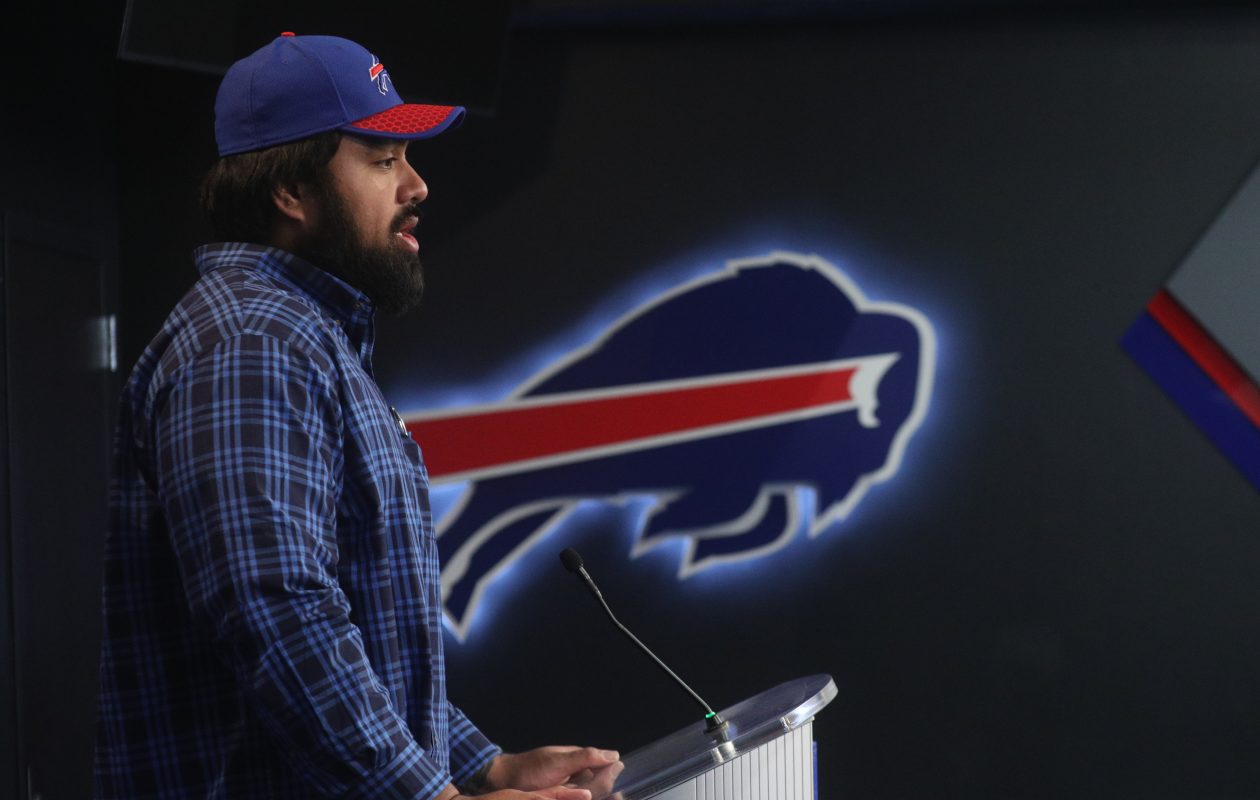 Star Lotulelei addresses the media after signing his contract with the Buffalo Bills on Thursday. (John Hickey/Buffalo News)