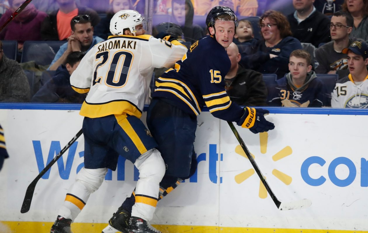 Whether the Sabres are playing Miikka Salomaki and league-leading Nashville or 30th-place Arizona, Jack Eichel wants to be on the ice. (Harry Scull Jr./Buffalo News)