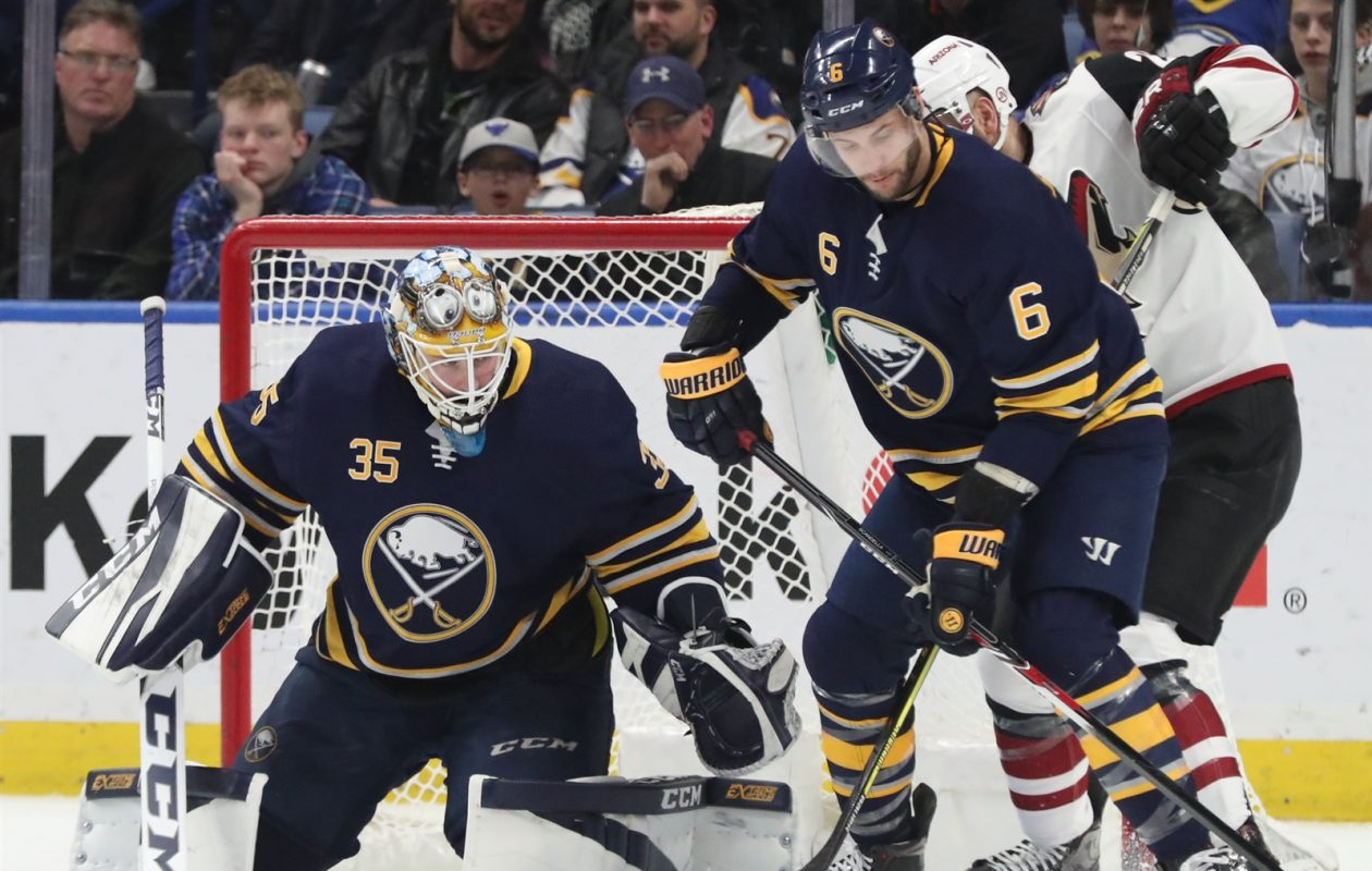 Goaltender Linus Ullmark and defenseman Marco Scandella will try to help the Sabres keep their divisional run going. (James P. McCoy/Buffalo News)