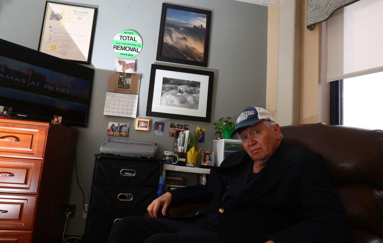 Paul Gromosiak, preeminent Niagara Falls historian, is living in the Schoellkopf Health Center due to Parkinson's disease - but remains intensely interested in Niagara.  (John Hickey/Buffalo News)