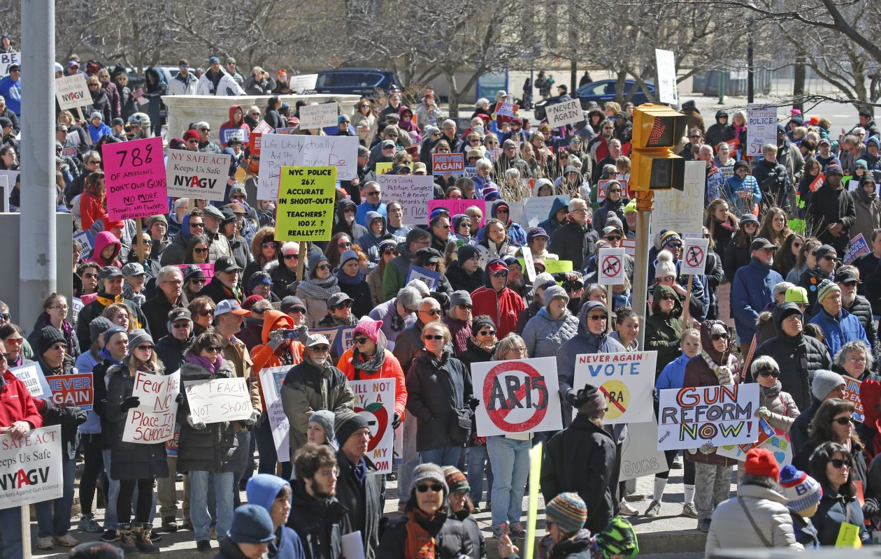 A March For Our Lives rally was held in Niagara Square on Saturday, March 24, 2018.  (Robert Kirkham/Buffalo News)