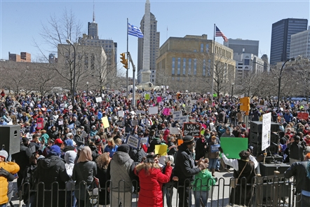 A crowd filled Niagara Square Saturday, March 24, 2018, for the March for Our Lives rally, held in conjunction with rallies across the nation seeking stronger gun laws in the wake of the mass shooting that killed 17 students and faculty in Parkland, Fla., on Valentine's Day.