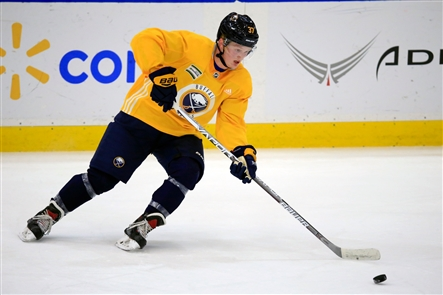 Casey Mittelstadt at his first practice with the Sabres