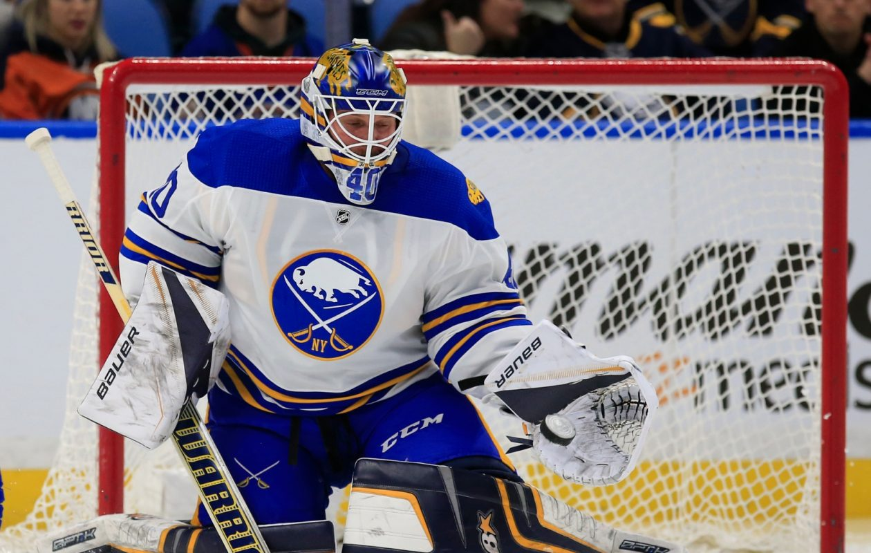 This is one of many combinations of equipment Robin Lehner has used this season. (Harry Scull Jr./Buffalo News)