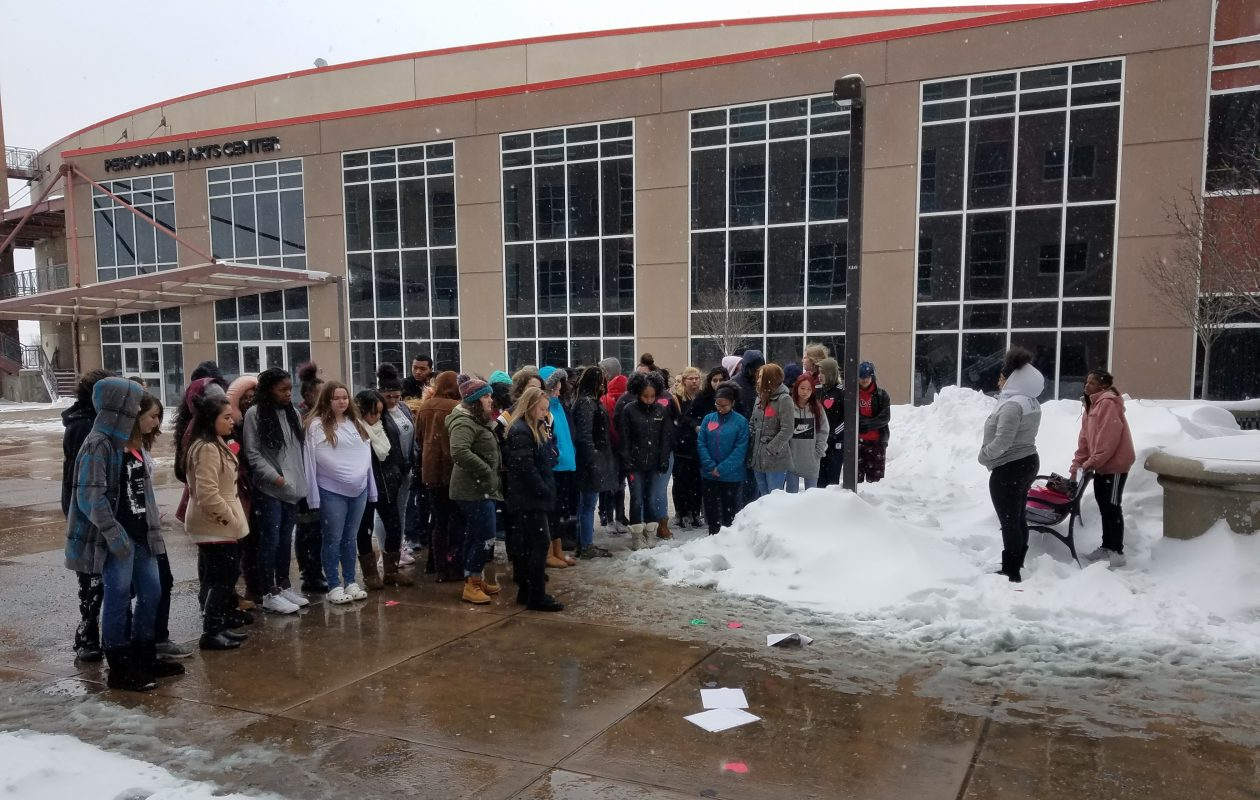 Niagara Falls High School students take part in the National Walkout Day against gun violence on March 14, 2018. (Thomas J. Prohaska/The Buffalo News)