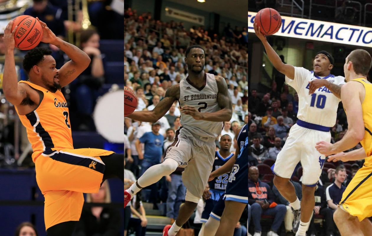 Canisius' Jermaine Crumpton, St. Bonaventure's Matt Mobley and University at Buffalo's Wes Clark will all participate in the 3X3U Tournament in San Antonio starting on Friday. (Photos by Harry Scull Jr. and Jim McCoy / Buffalo News)