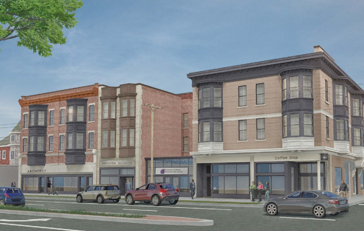 An architect's rendering of the Montante Group's redevelopment plans for three buildings at Seventh and Niagara streets in Niagara Falls.