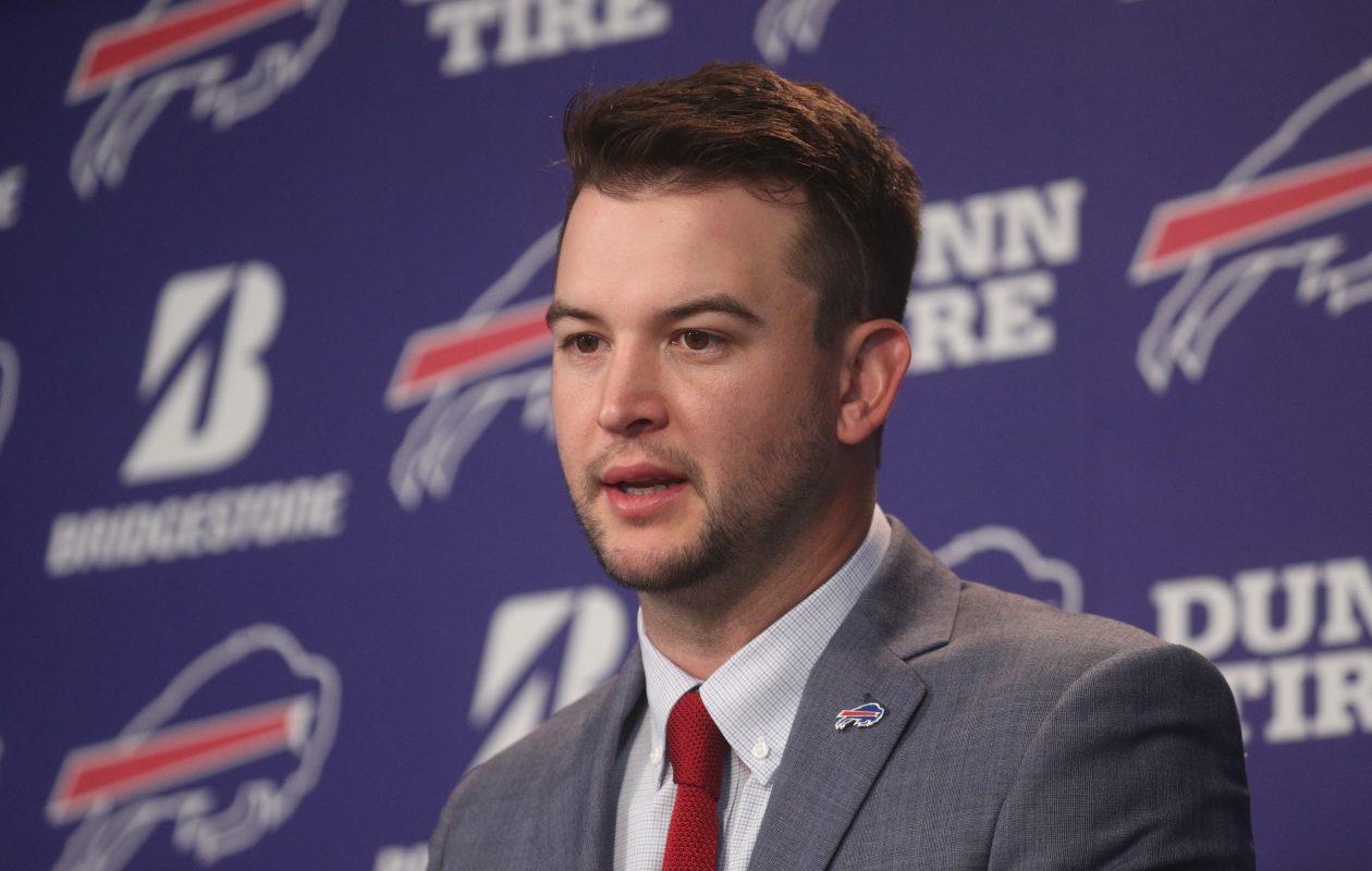 Newly signed Buffalo Bills quarterback AJ McCarron meets with the media. (John Hickey/Buffalo News)