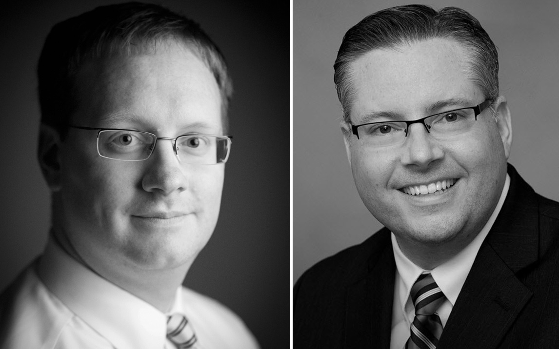 Brian Connolly, left, and Shawn Buffum, right, have been named vice presidents of The Buffalo News. (News file photos)