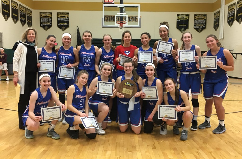 Williamsville South celebrates after its Class A Far West Regional win over Section V's Pittsford Mendon.  (@Section6GirlsBB/Twitter)