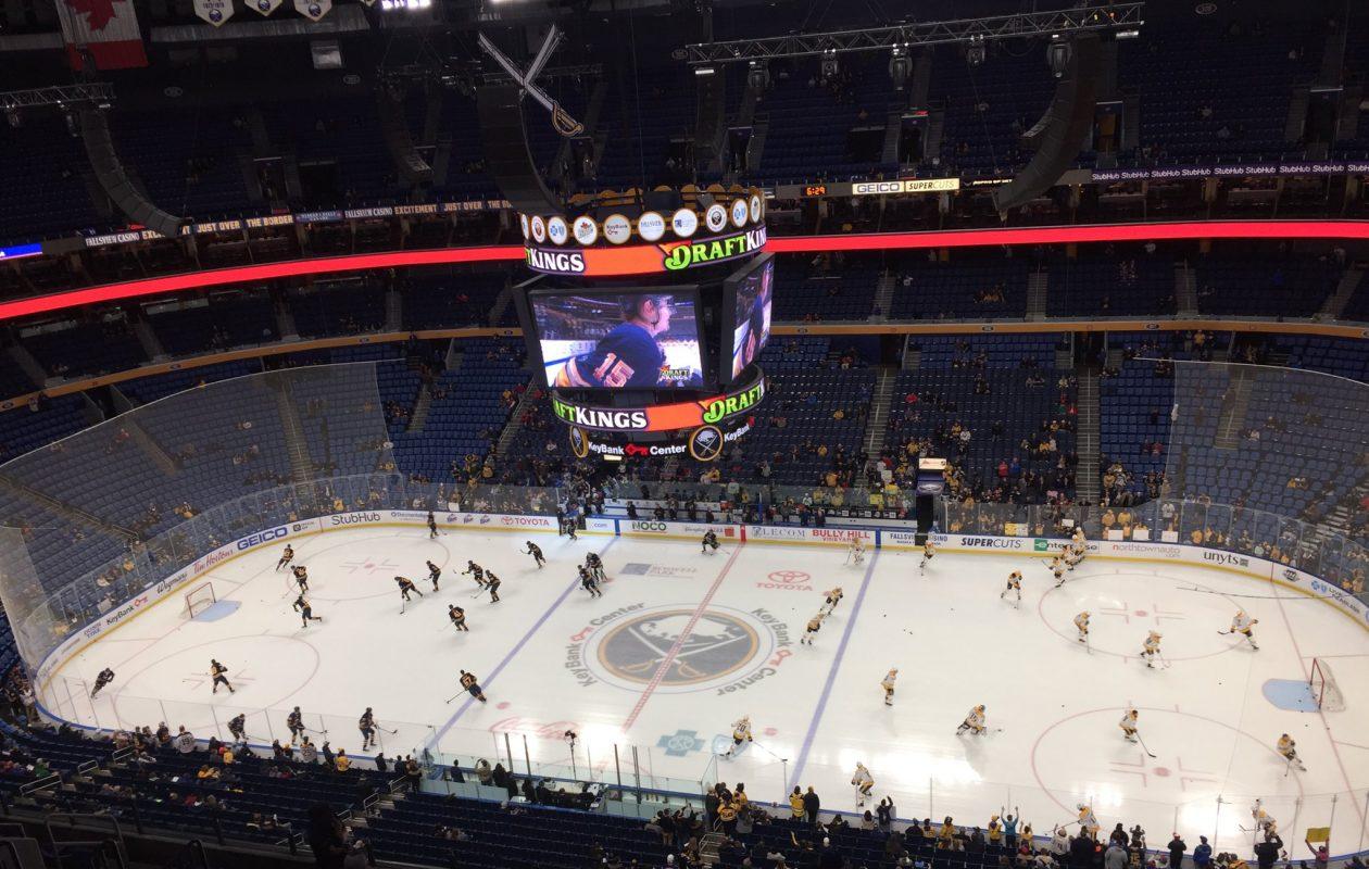 The Buffalo Sabres and Nashville Predators warm up at KeyBank Center. (Mike Harrington/Buffalo News)