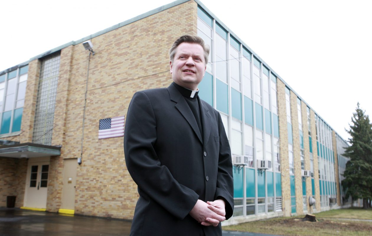 The Rev. David M. Bialkowski was accused by a former altar server  of inappropriate touching in 2011. Two more accusers came forward shortly after that. Bialkowski, who was removed from priestly duties by the Buffalo Diocese, now lives across the street from the William J. Grabiarz School of Excellence playground in Buffalo. (File photo/The Buffalo News)