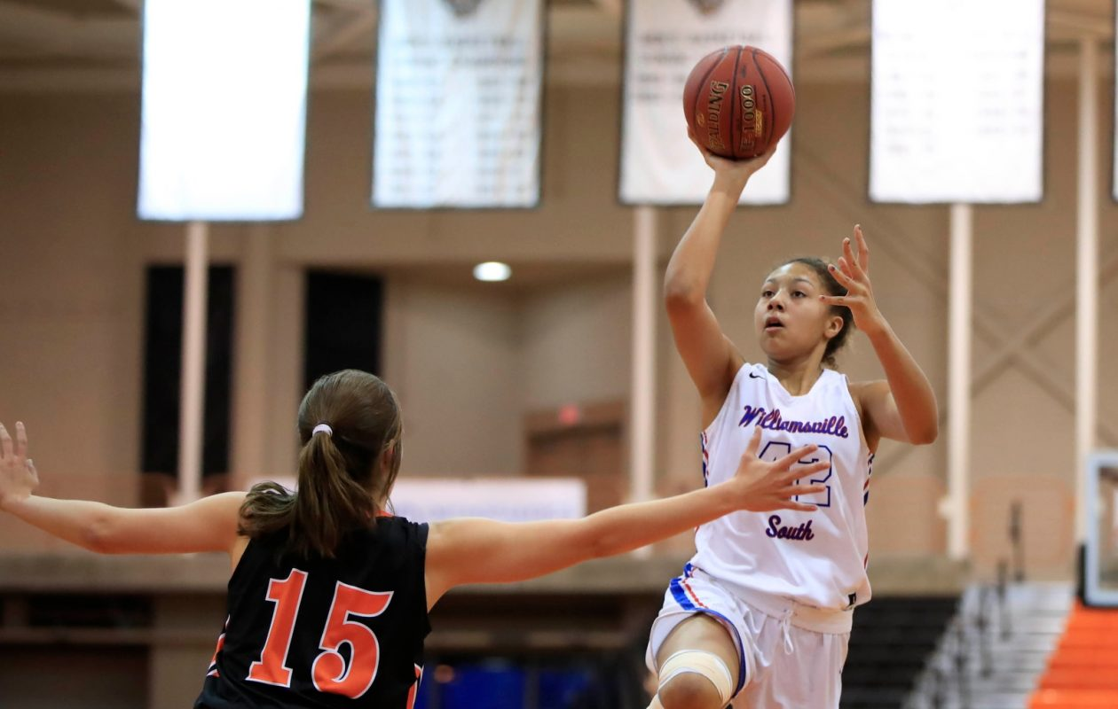 Amari DeBerry and the Williamsville South girls basketball team get another shot at Section V's Pittsford Mendon in the Far West Regionals Saturday, a team it lost to by 23 points in the first game of the season. (Harry Scull Jr./Buffalo News)