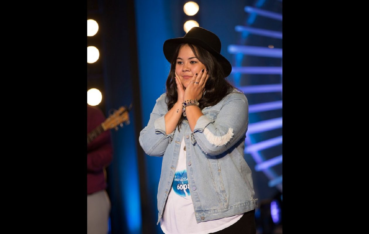 Buffalo-area native Erika Hill reacts after her 'American Idol' audition in New York City. A bus tour will stop in Buffalo for more auditions in late summer. (Eric Liebowitz/ABC)