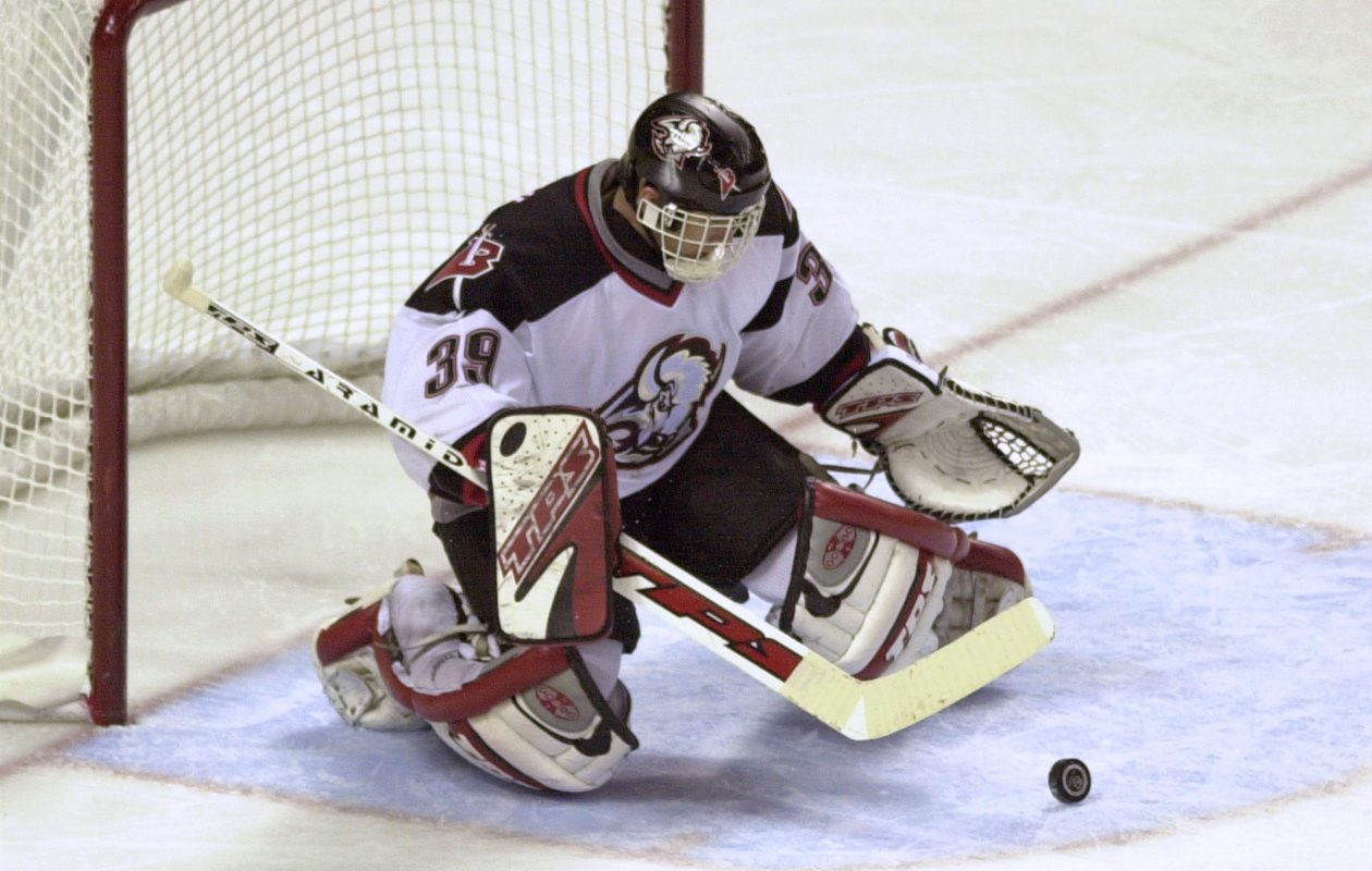 Dominik Hasek manned the Sabres' crease from 1992 to 2001. (Allsport)