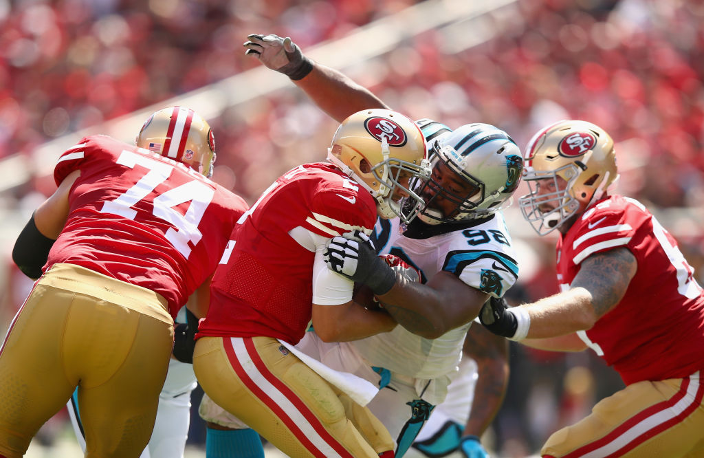 Star Lotulelei #98 of the Carolina Panthers pressures Brian Hoyer #2 of the San Francisco 49ers at Levi's Stadium on September 10, 2017 in Santa Clara, California.  (Photo by Ezra Shaw/Getty Images)