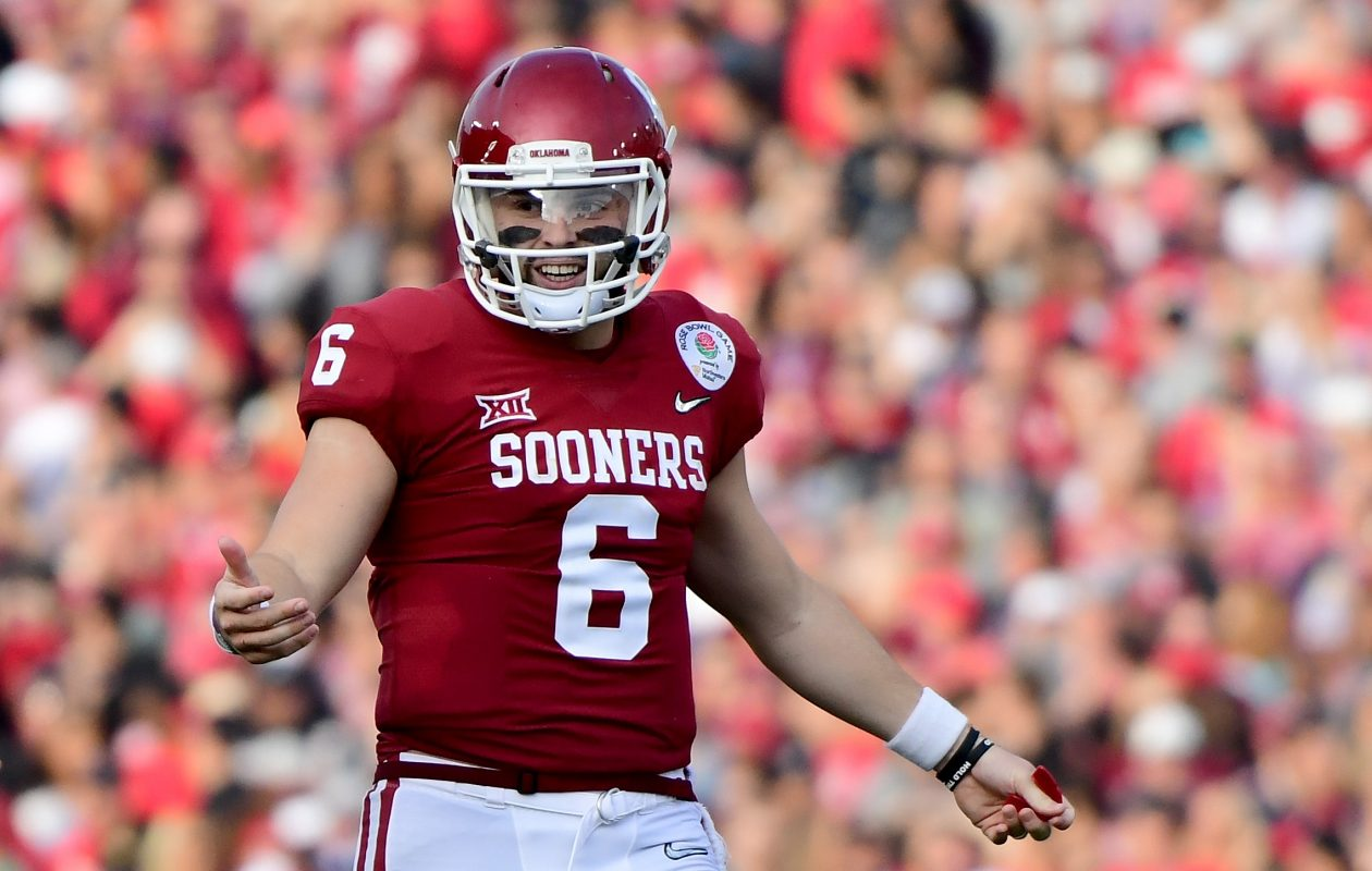 Baker Mayfield of the Oklahoma Sooners reacts after there is no penalty call on a pass during the second quarter in the 2018 College Football Playoff Semifinal Game. (Getty Images)