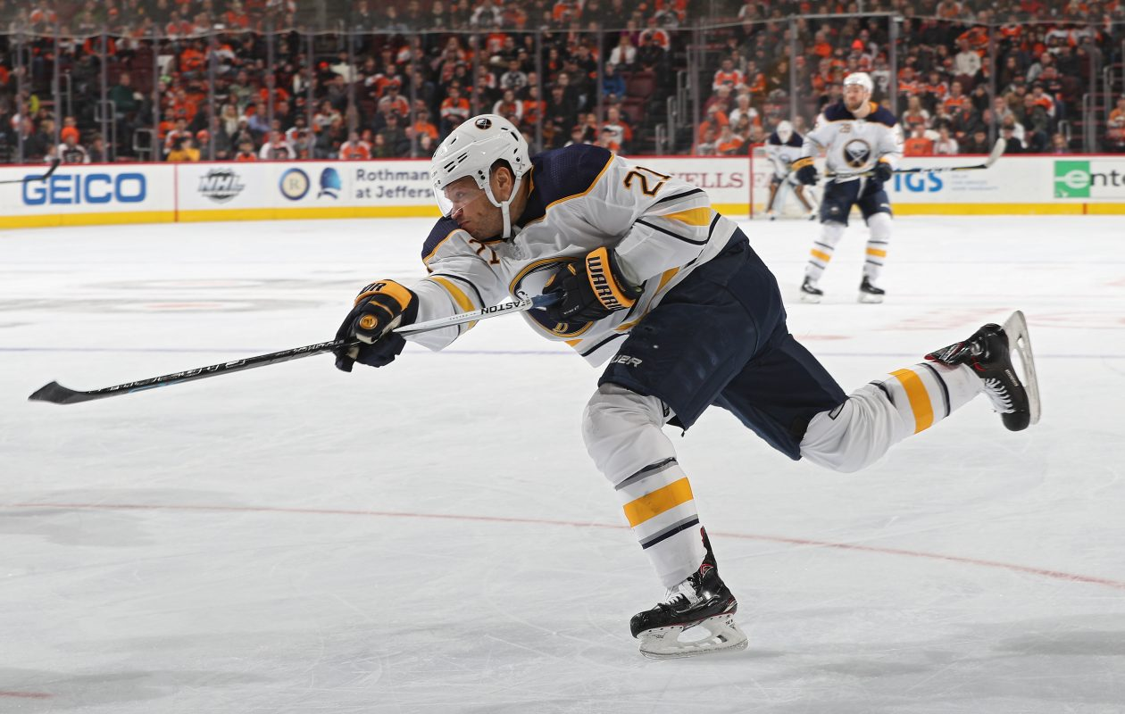 The Sabres' Kyle Okposo has numbers he wants to reach for goals, assists and shots. (Getty Images)
