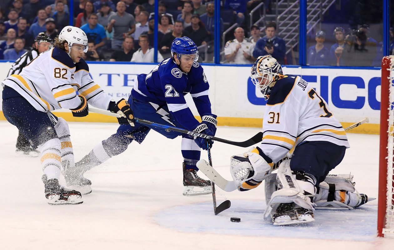 By stopping 21 of 22 shots against Brayden Point and Tampa Bay, Sabres goaltender Chad Johnson won for the fifth time in seven starts. (Getty Images)