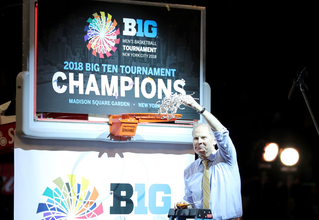 Western New York native John Beilein celebrates his Michigan Wolverines' 2017 Big Ten title at Madison Square Garden. (Getty Images)