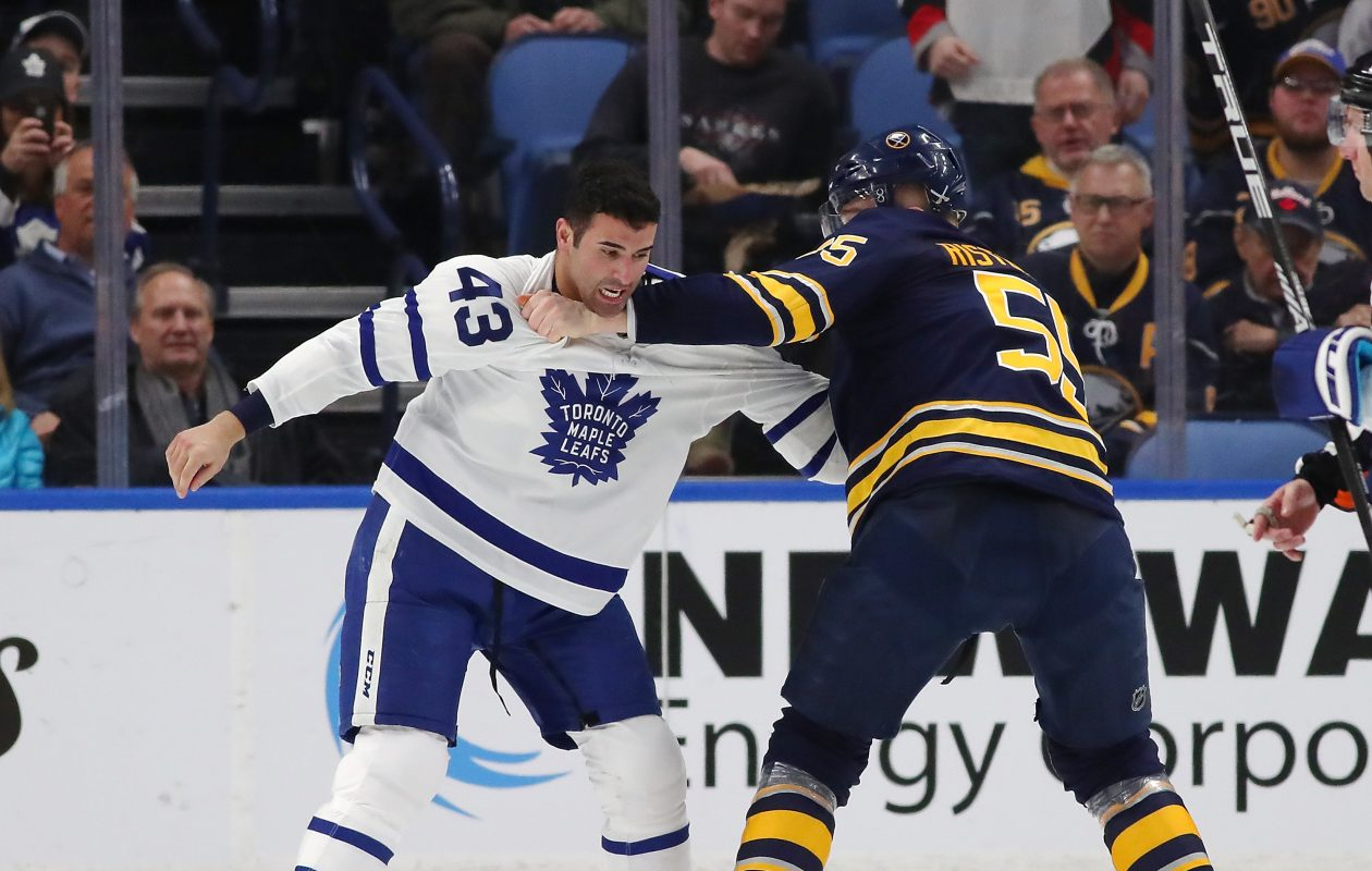 Toronto's Nazem Kadri and Buffalo's Rasmus Ristolainen had an even fight Monday, but Kadri won the post-fight chat. (Getty Images)