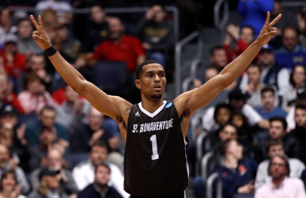 Idris Taqqee of the St. Bonaventure Bonnies celebrates a play against the UCLA Bruins during the second half of the First Four game in the 2018 NCAA Men's Basketball Tournament at UD Arena on March 13, 2018 in Dayton, Ohio.  (Getty Images)