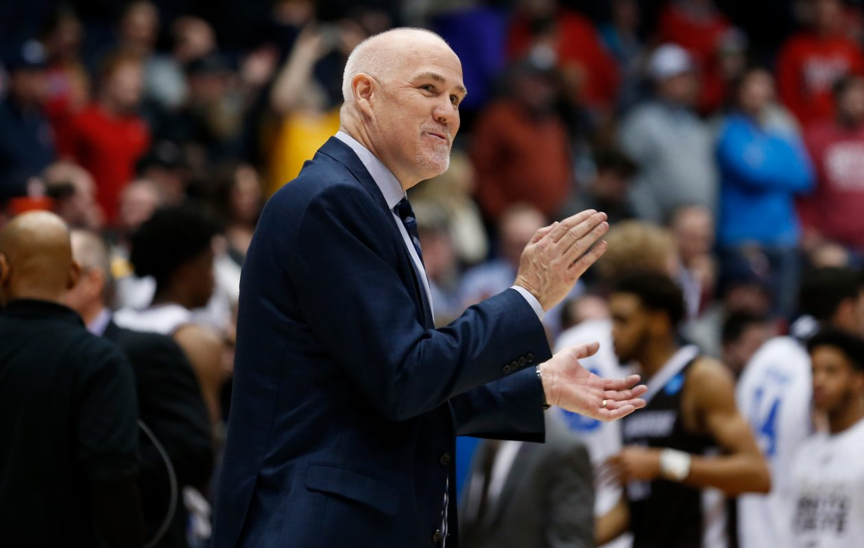 Head coach Mark Schmidt of the St. Bonaventure Bonnies reacts to his team's win over the UCLA Bruins in the First Four game in the 2018 NCAA Men's Basketball Tournament at University of Dayton Arena on March 13, 2018, in Dayton, Ohio. The St. Bonaventure Bonnies defeated the UCLA Bruins 65-58. (Photo by Kirk Irwin/Getty Images)