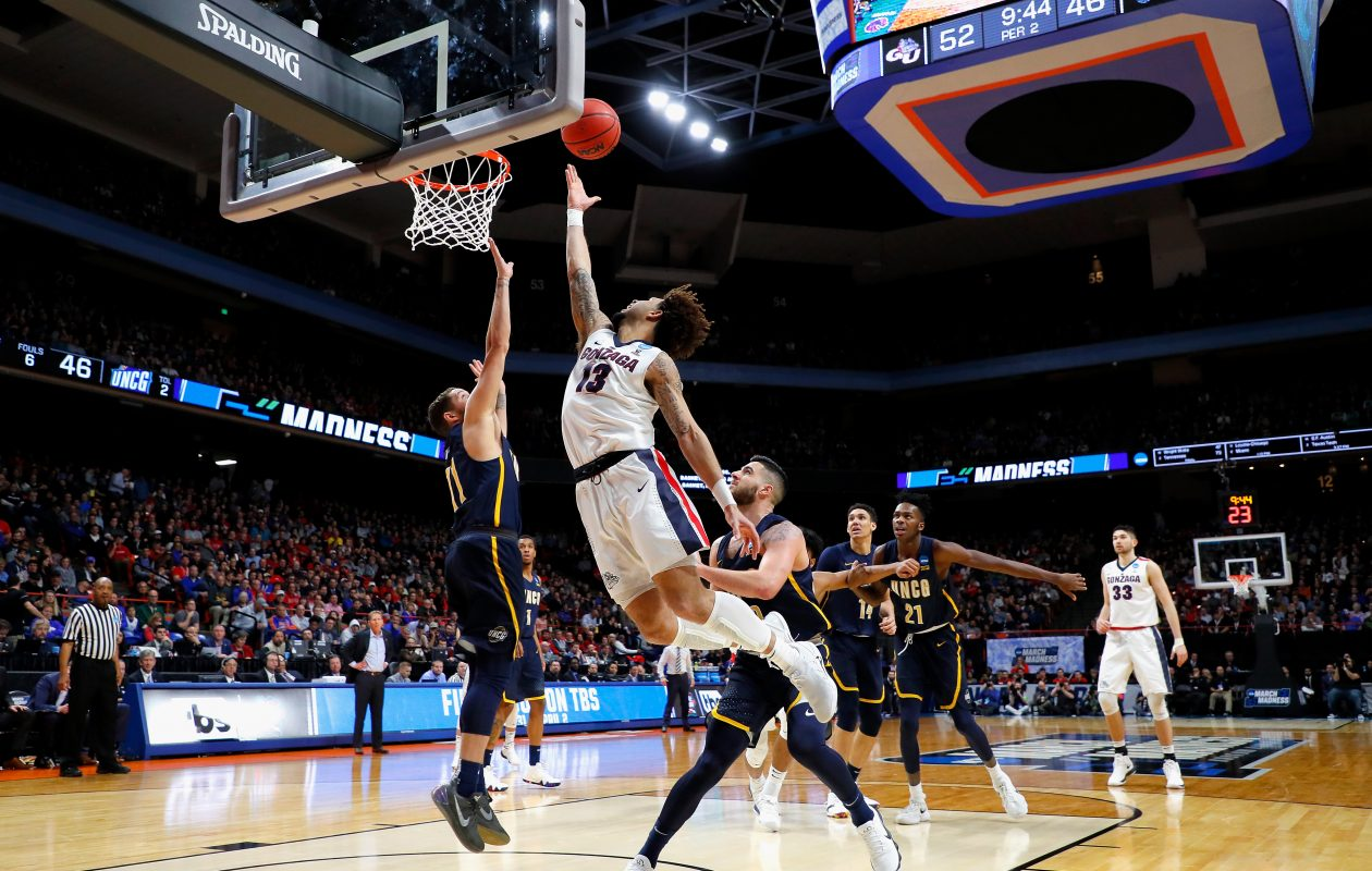 Josh Perkins #13 of the Gonzaga Bulldogs shoots the ball in the second half against the UNC-Greensboro Spartans during the first round of the 2018 NCAA Men's Basketball Tournament at Taco Bell Arena on March 15, 2018 in Boise, Idaho.  (Getty Images)