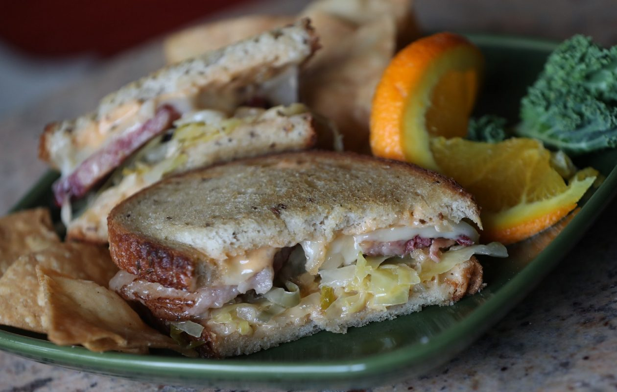 Grateful Grind is at 3225 Main St. Their Reuben sandwich is made with housemade corned beef. housemade sauerkraut and housemade sauce. (Sharon Cantillon/Buffalo News)