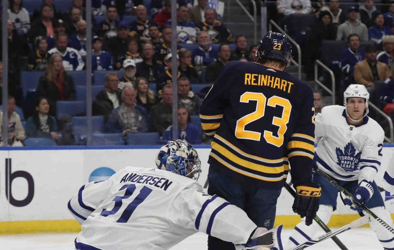 Sam Reinhart was on top of Toronto goaltender Frederik Andersen for most of the night Monday. (James P. McCoy/Buffalo News)