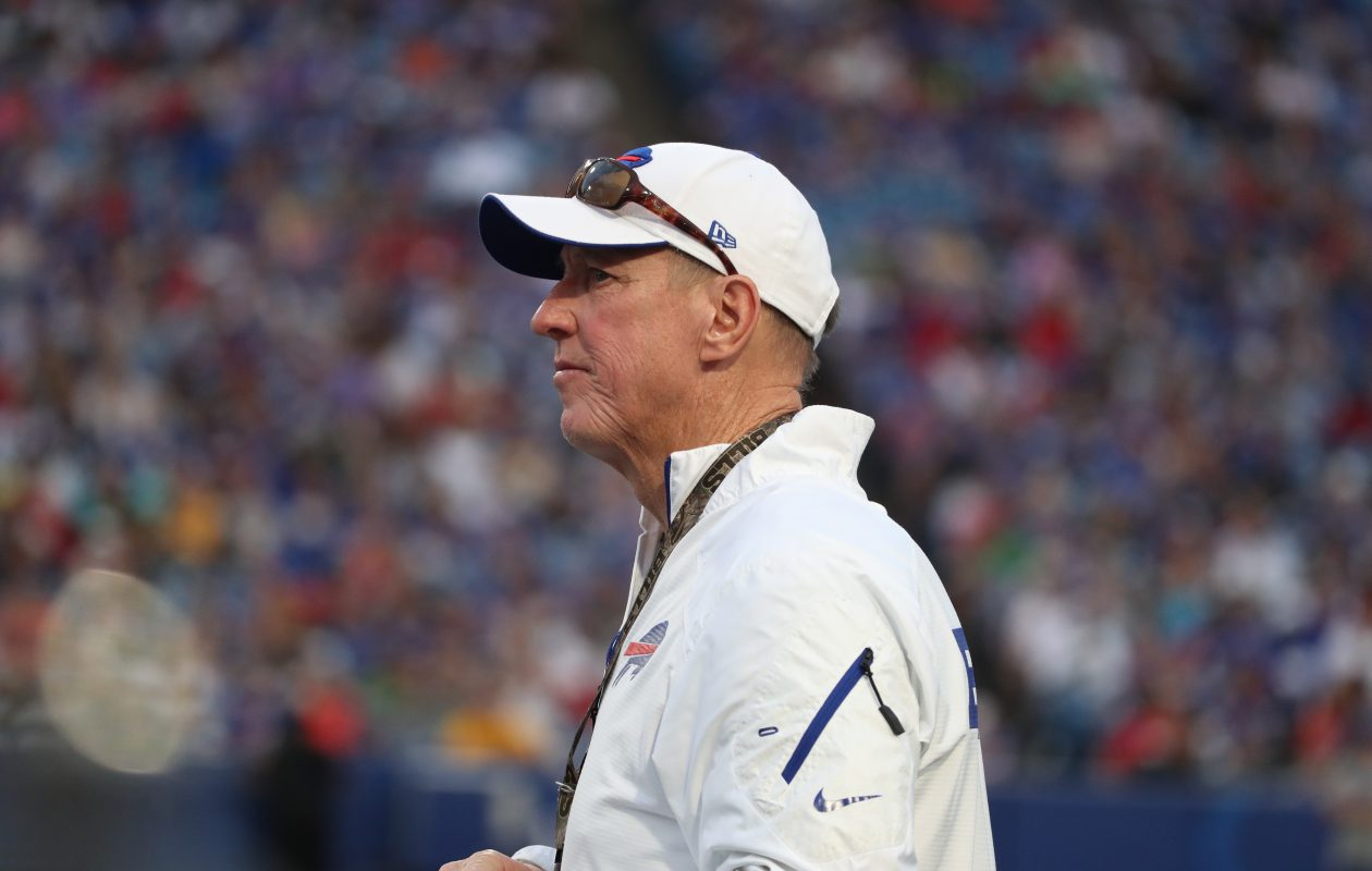 Jim Kelly on the sidelines at New Era Field in Orchard Park on Aug. 10, 2017.  (James P. McCoy / Buffalo News)