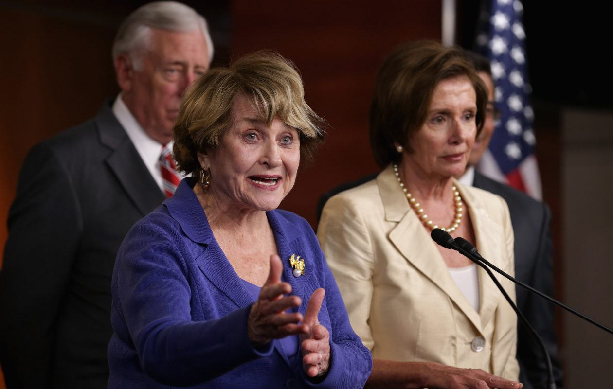 House Rules Committee ranking member Rep. Louise Slaughter (D-NY), left, talks to reporters with Minority Leader Nancy Pelosi (D-CA)  and members of the House Democratic leadership at the U.S. Capitol in 2014 in Washington, DC. (Getty Images)