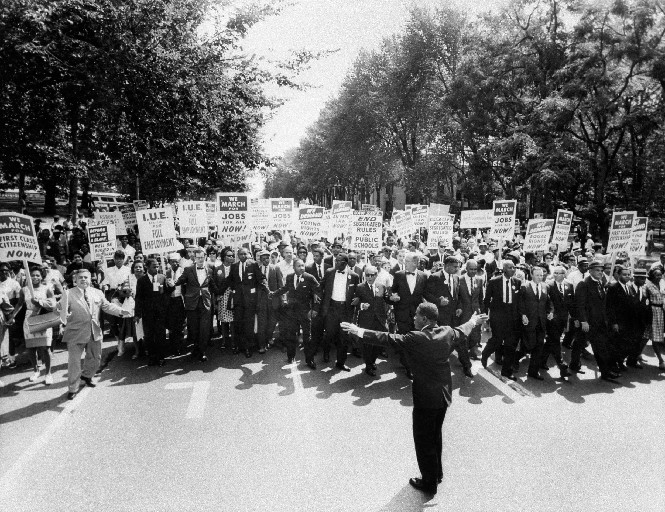 Martin Luther King Jr. and other black and white civil right leaders march in 1963 in Washington, D.C. King was assassinated 50 years ago this Wednesday. (Getty ImagesL