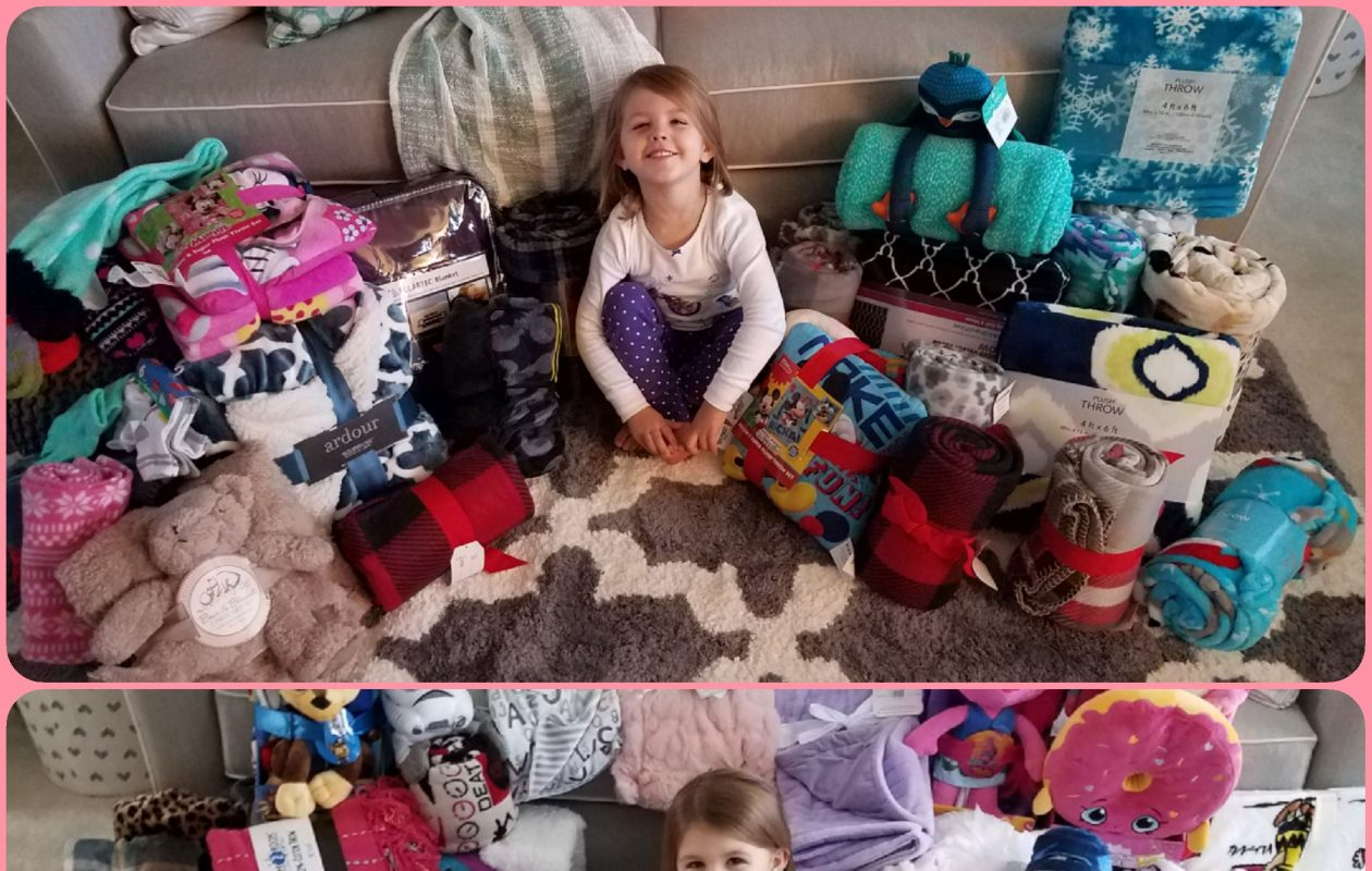 Maddie Howell after her fourth birthday, above, and her fifth birthday, below. For the last two years, she has asked guests to bring blankets to donate to the #WarmUpWNY drive instead of gifts for her. (Photo courtesy of the office of State Sen. Tim Kennedy)