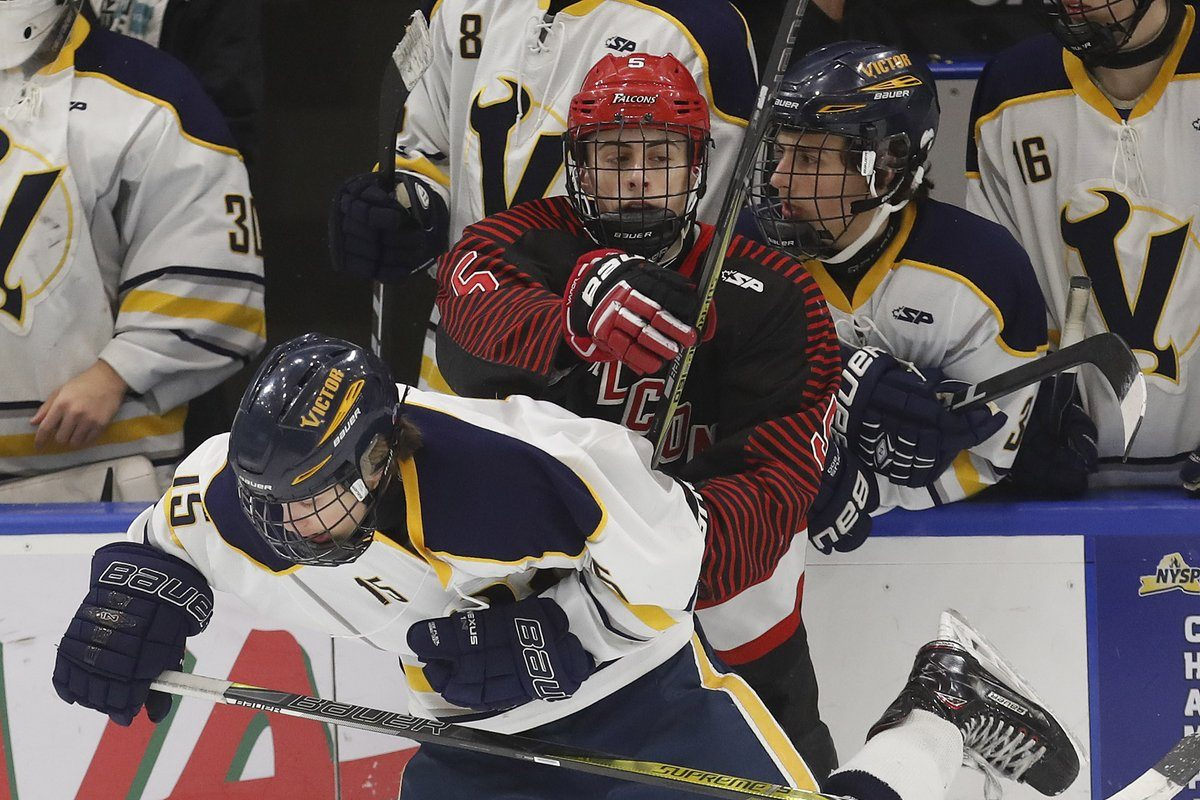 Victor's Lukas Miller gets in the way of Niagara Wheatfield's Cameron King during the NYSPHSAA Division I state hockey final Sunday at HarborCenter. (Mark Mulville/Buffalo News)