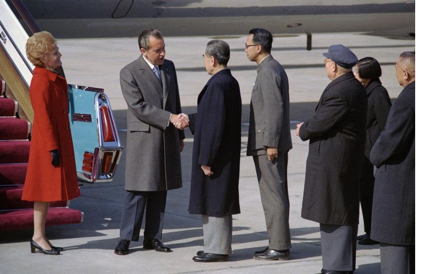 President Richard Nixon arrives in Beijing in 1972. (Nixon Foundation photo.)
