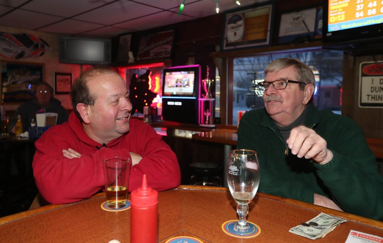 Hanging out are Gary Machniak, left, of Depew and John Moehrle of Lancaster. (Sharon Cantillon/Buffalo News)