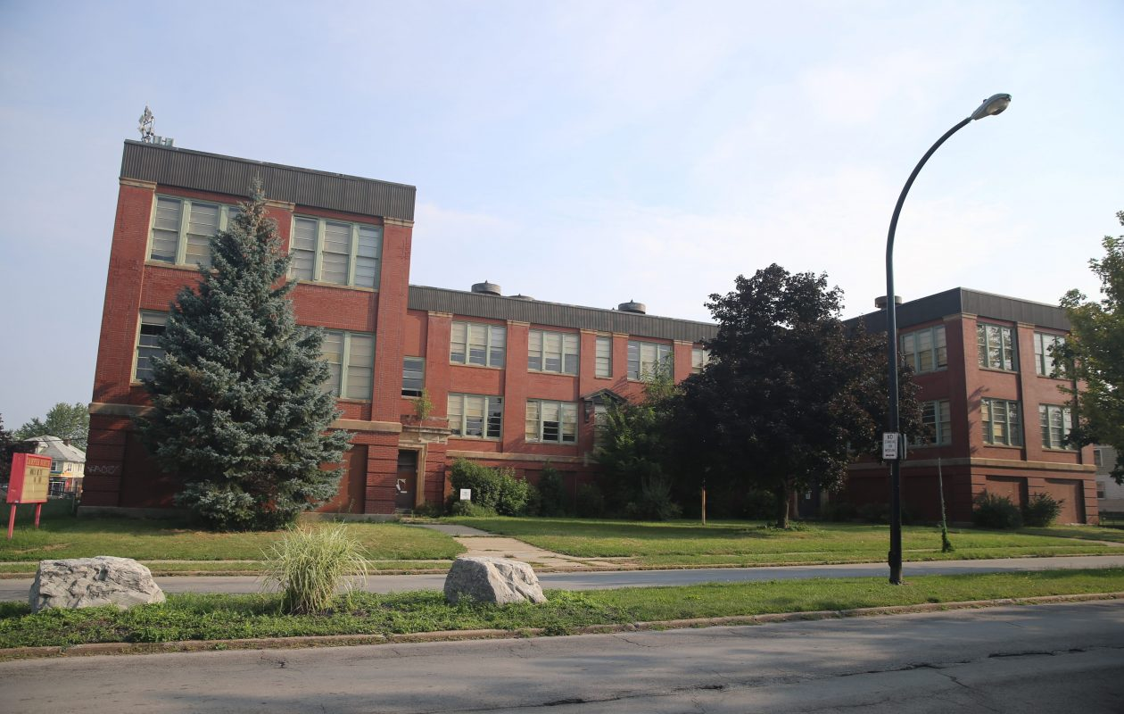 The former School 63 is now the Lofts at University Heights.
