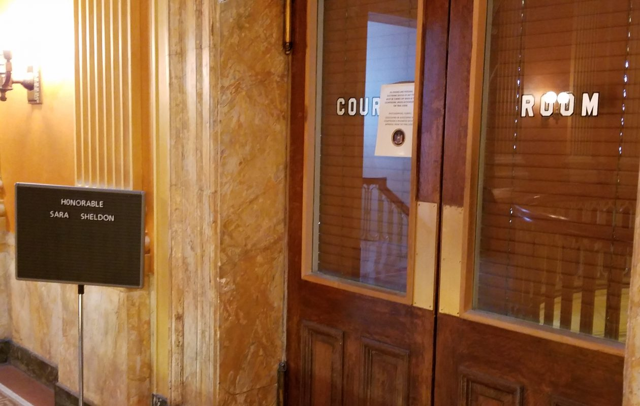 Entrance to the courtroom of Niagara County Judge Sara Sheldon. (Thomas J. Prohaska/Buffalo News)