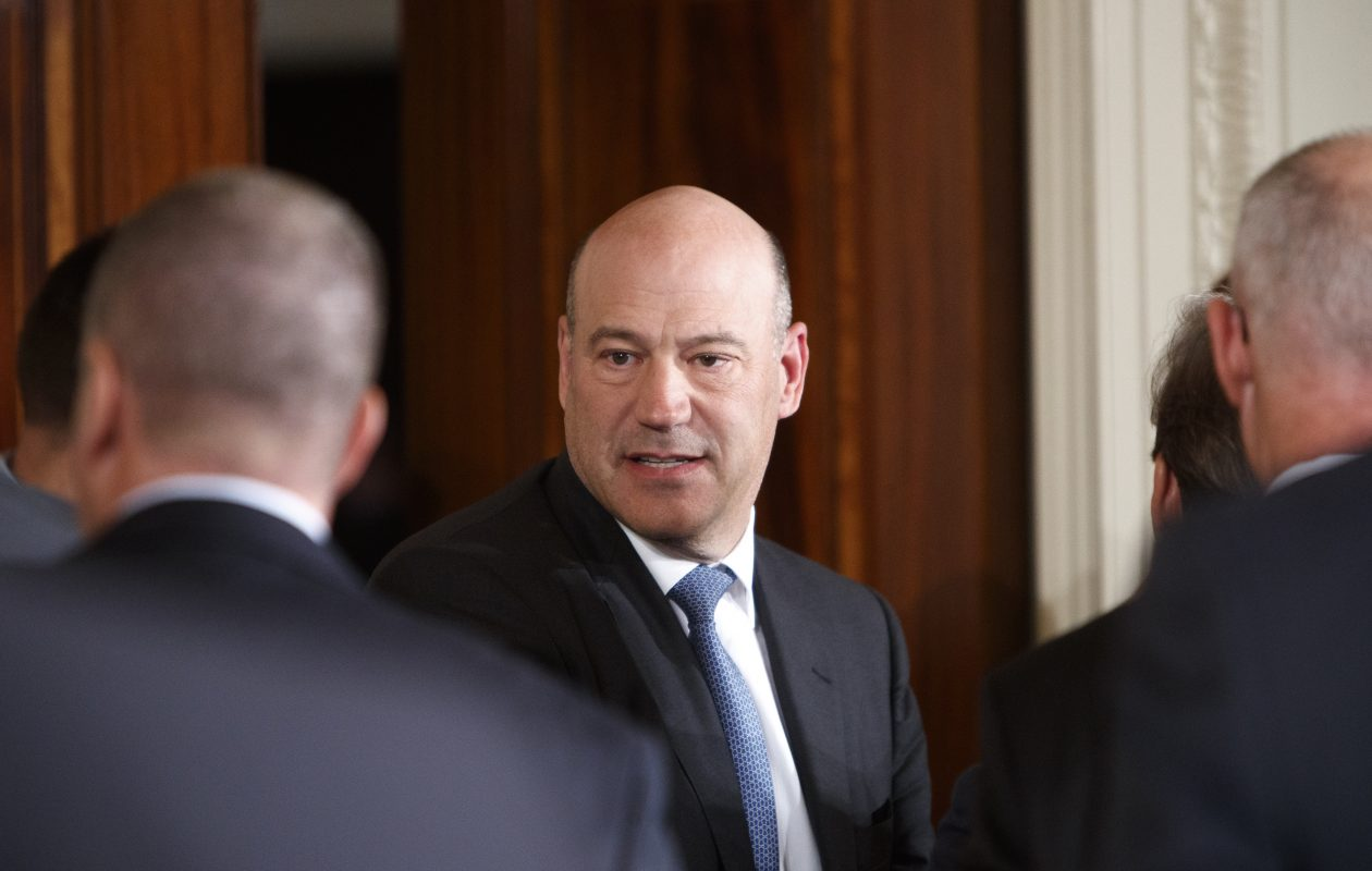 Gary Cohn, President Trump's top economic adviser, chats with colleagues before the start of a news conference at the White House on Feb. 24, 2018. Cohn plans to resign, becoming the latest in a series of high-profile departures from the Trump administration, White House officials said on Tuesday, March 6, 2018. (New York Times)