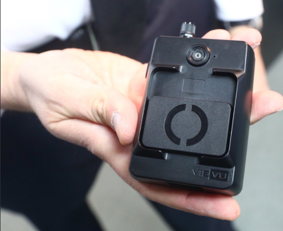 Buffalo police officers have started testing body cameras as part of a pilot program. They are currently testing Vievu devices, shown here. (John Hickey/Buffalo News)