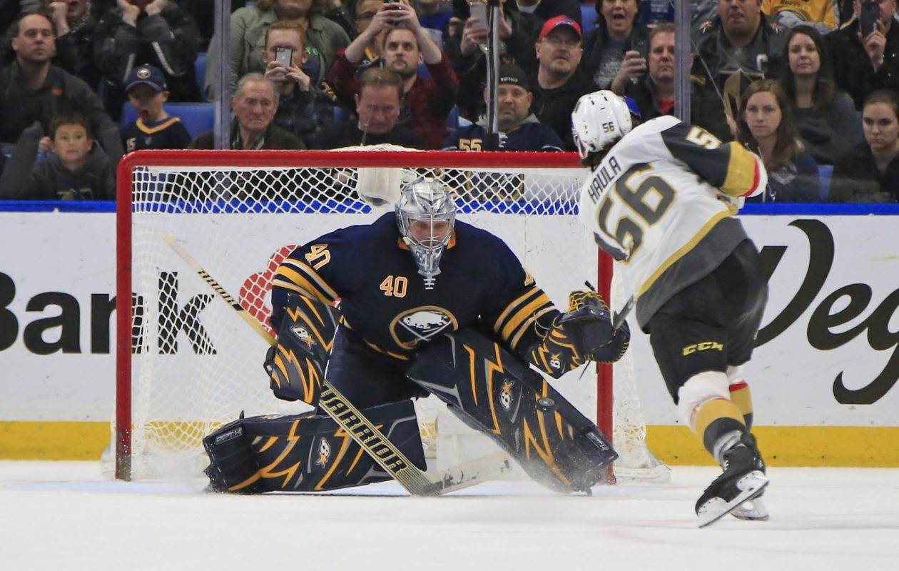 Vegas' Erik Haula beats Sabres goaltender Robin Lehner in the fifth round to win Saturday's shootout. (Harry Scull Jr./Buffalo News)
