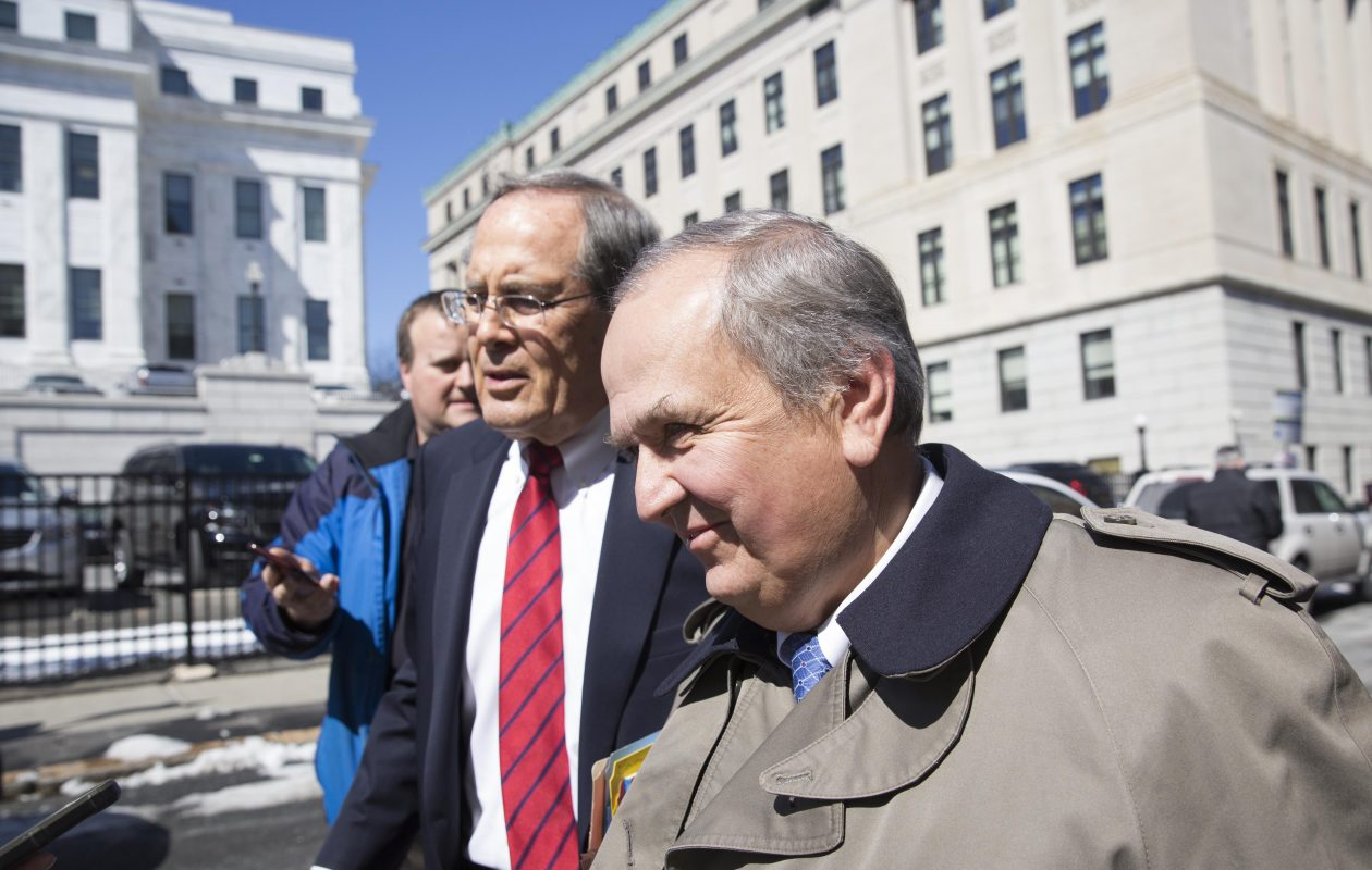 Former state Sen. George Maziarz and attorney E. Stewart Jones leave Albany County Court in March 2017. (Mike Groll/Special to The News)