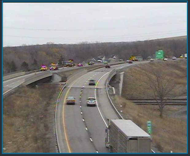 A traffic camera shows emergency road repair work on northbound I-190 beyond Exit 23. (NITTEC)
