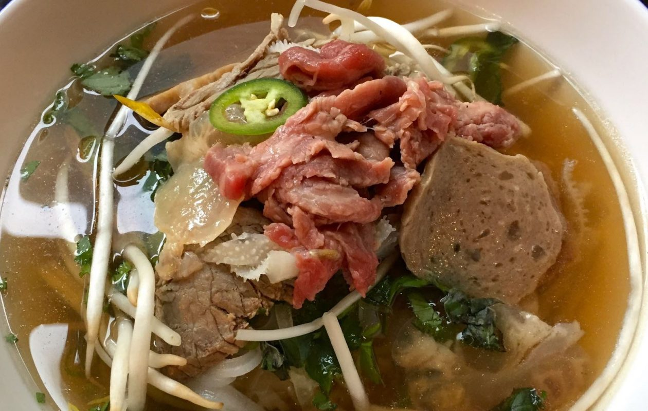 This pho bo, or Vietnamese beef noodle soup, sports more than just sirloin at Pho 54 in Amherst. There's also beef brisket, pork meatballs, beef tendon and tripe. (Lauren Newkirk Maynard/Special to The News)
