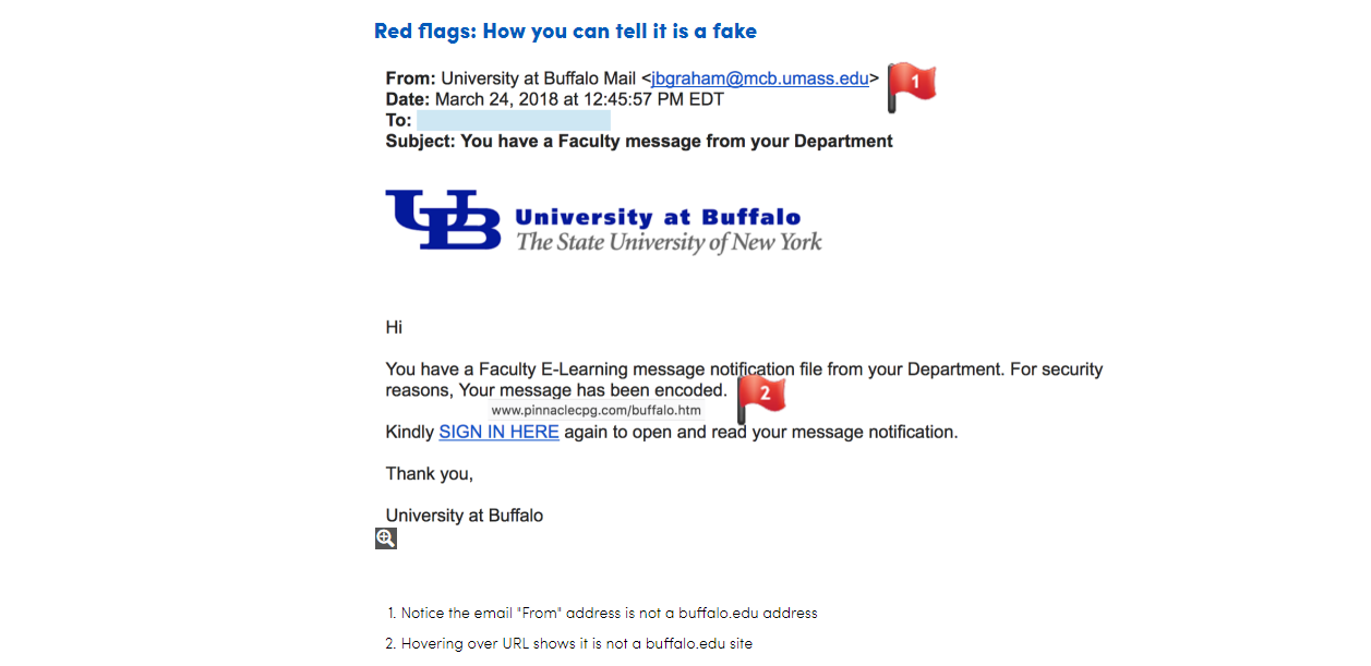 University at Buffalo is warning students that if they get an email that looks like this one, don't open it. They say it's an email phishing scam. (University at Buffalo)