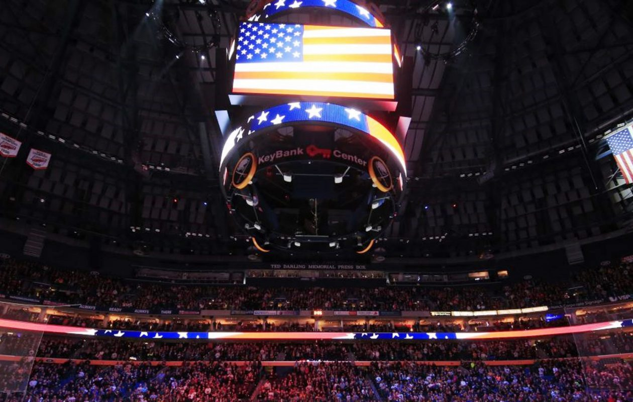 The national anthem is played at a Sabres game in KeyBank Center. (Harry Scull Jr./News file photo)